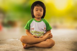 meditating, mediation, little girl